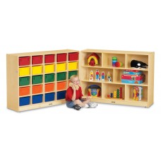 Jonti-Craft® 25 Cubbie-Tray Mobile Fold-n-Lock - with Colored Trays
