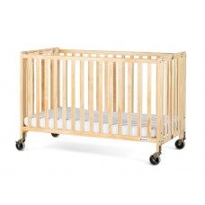 """Full-Size HideAway™ EasyRoll™ Folding Fixed-Side Crib, Slatted w/ 4"""" Casters - Natural - 3 inch"""