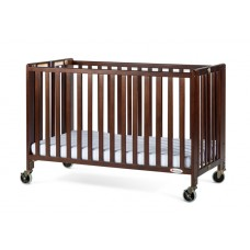 """Full-Size HideAway™ EasyRoll™ Folding Fixed-Side Crib, Slatted w/ 4"""" Casters - Antique Cherry - 3 inch"""
