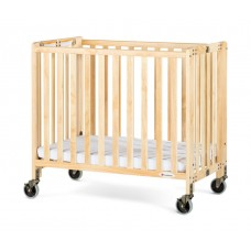 """Compact HideAway™ EasyRoll™ Folding Fixed-Side Crib, Slatted w/ 4"""" Casters - Natural - 2 inch"""