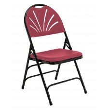 Burgundy Polyfold Fan Back Triple Brace Double Hinge Folding Chairs Carton of 4