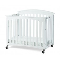 """Compact Royale™ EasyRoll™ Folding Fixed-Side Crib, Slatted w/ 4"""" Casters - Ever White - 3 inch"""