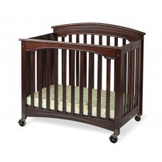 """Compact Royale™ EasyRoll™ Folding Fixed-Side Crib, Slatted w/ 4"""" Casters - Antique Cherry - 3 inch"""
