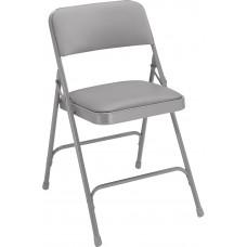 Warm Grey Vinyl Upholstered Premium Folding Chairs Carton of 4