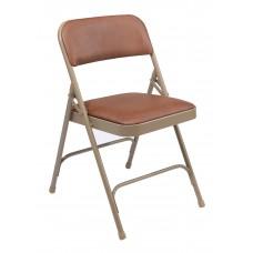Honey Brown Vinyl Upholstered Premium Folding Chairs Carton of 4