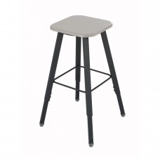 AlphaBetter® Adjustable-Height Student Stool with Thermoplastic Seat and Tip-Resistant Base - Black (frame);Beige (seat)