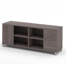 Pro-Linea Credenza with three drawers in Bark Gray