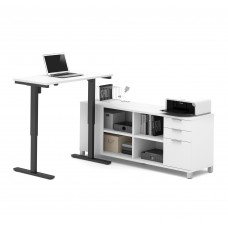 Pro-Linea L-Desk including Electric Height Adjustable Table in White