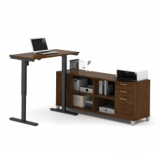 Pro-Linea L-Desk including Electric Height Adjustable Table in Oak Barrel