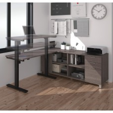 Pro-Linea L-Desk including Electric Height Adjustable Table in Bark Gray
