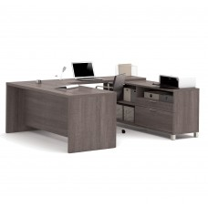 Pro-Linea U-Desk in Bark Gray