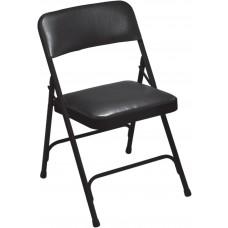 Caviar Black Vinyl Upholstered Premium Folding Chairs Carton of 4