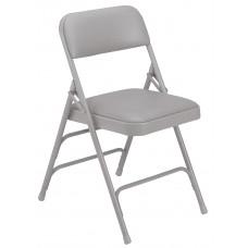 Warm Grey Vinyl Upholstered Triple Brace Double Hinge Premium Folding Chairs Carton of 4