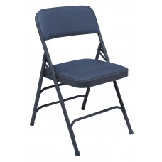 Dark Midnight Blue Vinyl Upholstered Triple Brace Double Hinge Premium Folding Chairs Carton of 4