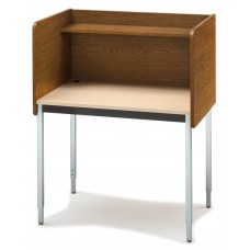 "29"" Fh Single Modular Carrel Starter - Medium Oak/Sand"