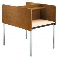 "24-29"" Adj Ht Double Modular Carrel Starter - Medium Oak/Sand"