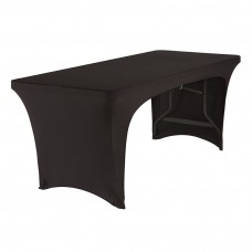 Black Stretch Fabric Table Cover, Open 2-S , 6'