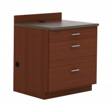 Hospitality Base Cabinet, Three Drawer - Rustic Slate (counter top);Mahogany (cabinet)