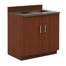 Hospitality Base Cabinet, Waste Receptacle - Rustic Slate (counter top);Mahogany (cabinet)
