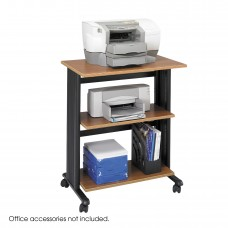 Muv™ Three Level Adjustable Printer Stand - Medium Oak/Black