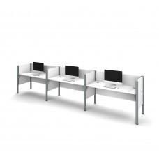 Pro-Biz Triple side-by-side workstation in White