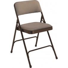 Russet Walnut Fabric Upholstered Premium Folding Chairs Carton of 4