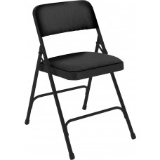 Midnight Black Fabric Upholstered Premium Folding Chairs Carton of 4