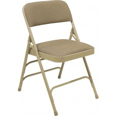 Cafe Beige Fabric Upholstered Triple Brace Double Hinge Premium Folding Chairs Carton of 4