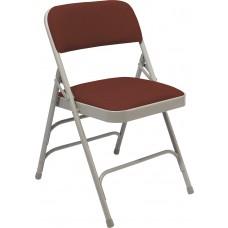 Majestic Cabernet Fabric Upholstered Triple Brace Double Hinge Premium Folding Chairs Carton of 4