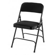 Midnight Black Fabric Upholstered Triple Brace Double Hinge Premium Folding Chair Carton Of 4