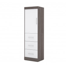 "Nebula by Bestar 25"" Storage unit with door & drawers in Bark Gray & White"