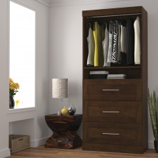 "Pur by Bestar 36"" storage unit with 3-drawer set in Chocolate"