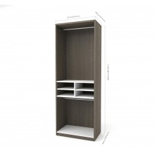 "Cielo by Bestar 29.5"" Multi-Storage Cubby Unit in Bark Gray and White"