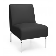 Triumph Series Armless Lounge Chair with Vinyl Seat and Chrome Frame, Black