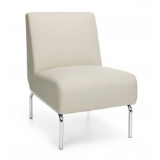 Triumph Series Armless Lounge Chair with Vinyl Seat and Chrome Frame, Cream