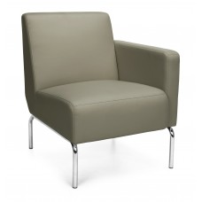 Triumph Series Left Arm Modular Lounge Chair with Vinyl Seat and Chrome Frame, Taupe