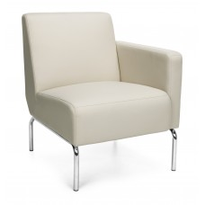 Triumph Series Left Arm Modular Lounge Chair with Vinyl Seat and Chrome Frame, Cream