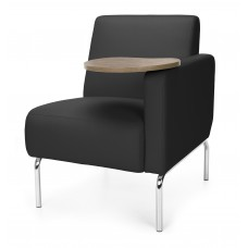 Triumph Series Left Arm Modular Lounge Chair with Tablet Vinyl Seat and Chrome Frame, Black/Bronze