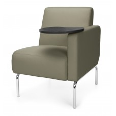 Triumph Series Left Arm Modular Lounge Chair with Tablet Vinyl Seat and Chrome Frame, Taupe/Tungsten