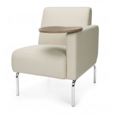 Triumph Series Left Arm Modular Lounge Chair with Tablet Vinyl Seat and Chrome Frame, Cream/Bronze