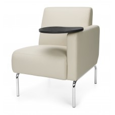 Triumph Series Left Arm Modular Lounge Chair with Tablet Vinyl Seat and Chrome Frame, Cream/Tungsten