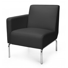 Triumph Series Right Arm Modular Lounge Chair with Vinyl Seat and Chrome Frame, Black