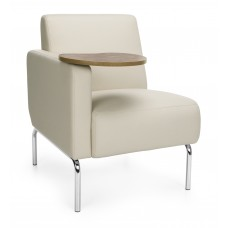 Triumph Series Right Arm Modular Lounge Chair with Tablet Vinyl Seat and Chrome Frame, Cream/Bronze