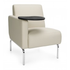 Triumph Series Right Arm Modular Lounge Chair with Tablet Vinyl Seat and Chrome Frame, Cream/Tungsten