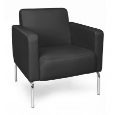 Triumph Series Lounge Chair with Vinyl Seat and Chrome Frame, Black