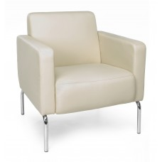 Triumph Series Lounge Chair with Vinyl Seat and Chrome Frame, Cream