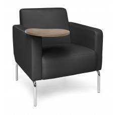 Triumph Series Lounge Chair with Tablet Vinyl Seat and Chrome Frame, Black/Bronze