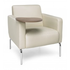 Triumph Series Lounge Chair with Tablet Vinyl Seat and Chrome Frame, Cream/Bronze