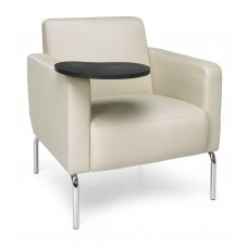 Triumph Series Lounge Chair with Tablet Vinyl Seat and Chrome Frame, Cream/Tungsten