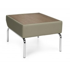 Triumph Series Laminate Top Table with Vinyl Border and Chrome Frame, Taupe/Bronze